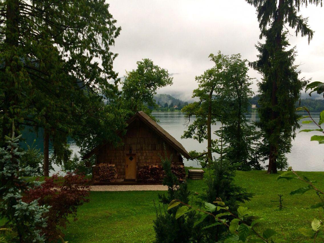 Wood hut, Lake Bled,  Slovenia.