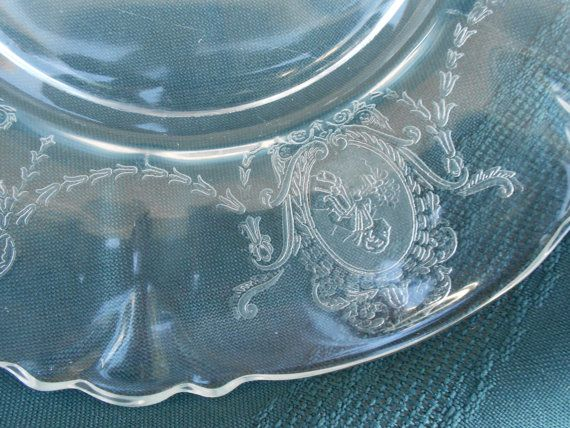Etched Glass Salad Plates 7 Small Clear By Barbaraannscreations