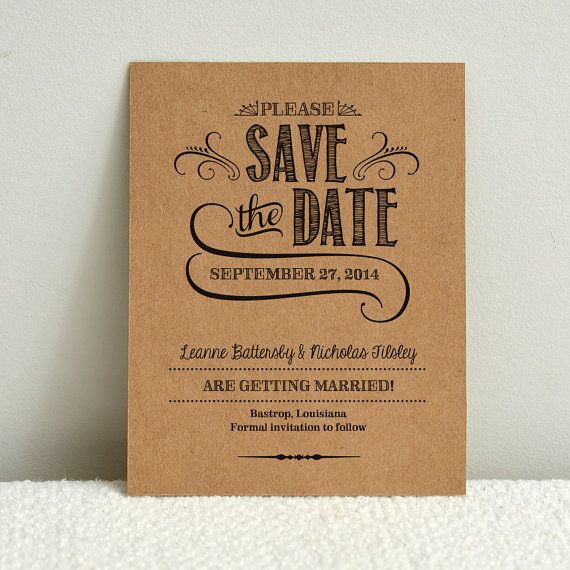 Diy Kraft Paper Wedding SaveTheDate By Amyadamsprintables