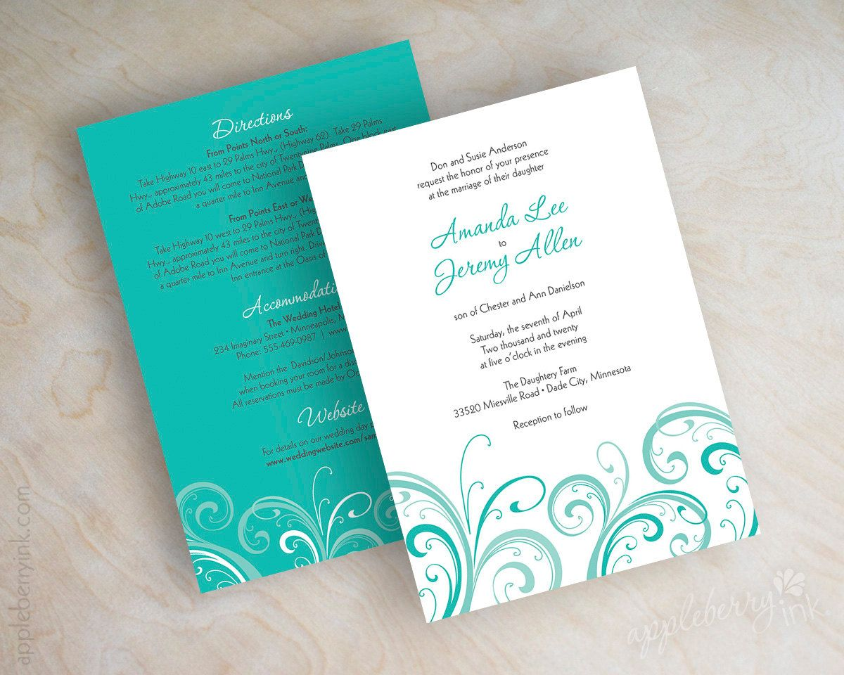 Teal Wedding Invitation Contemporary Wedding Invitation
