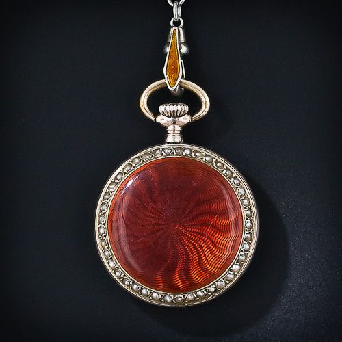 Guilloche Enamel Pendant Watch and Chain