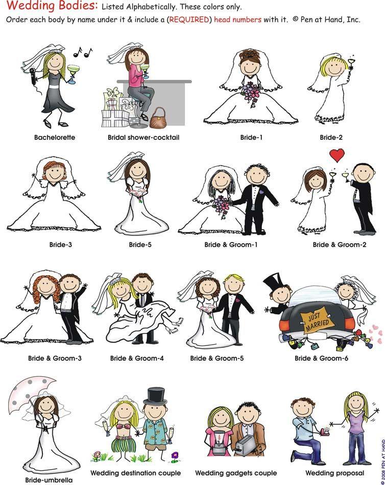 bride and groom cartoon figures wedding bodies pen at hand stick