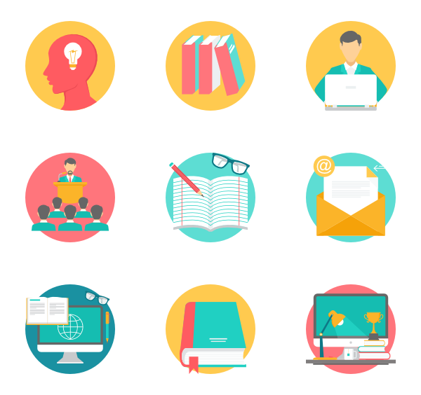 Education Icon Pack Education Icon School Icon Flat Design Icons