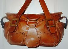 MIA BOSSI Distressed Brown Leather Maria Tote Diaper Bag Large- Excellent