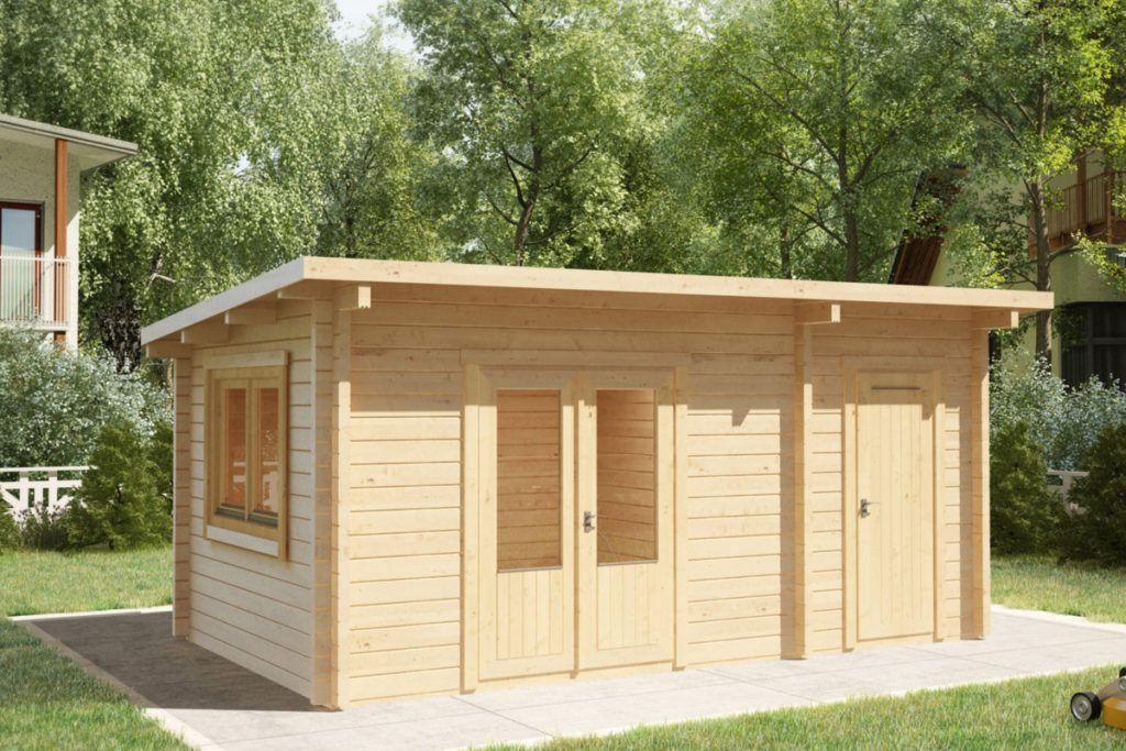 Kombiniertes Gartenhaus Und Schuppen Super Tom 15m2 44mm 5x3 Gartenhaus Flachdach Modern Gartenhaus Modern Gartenhaus Holz