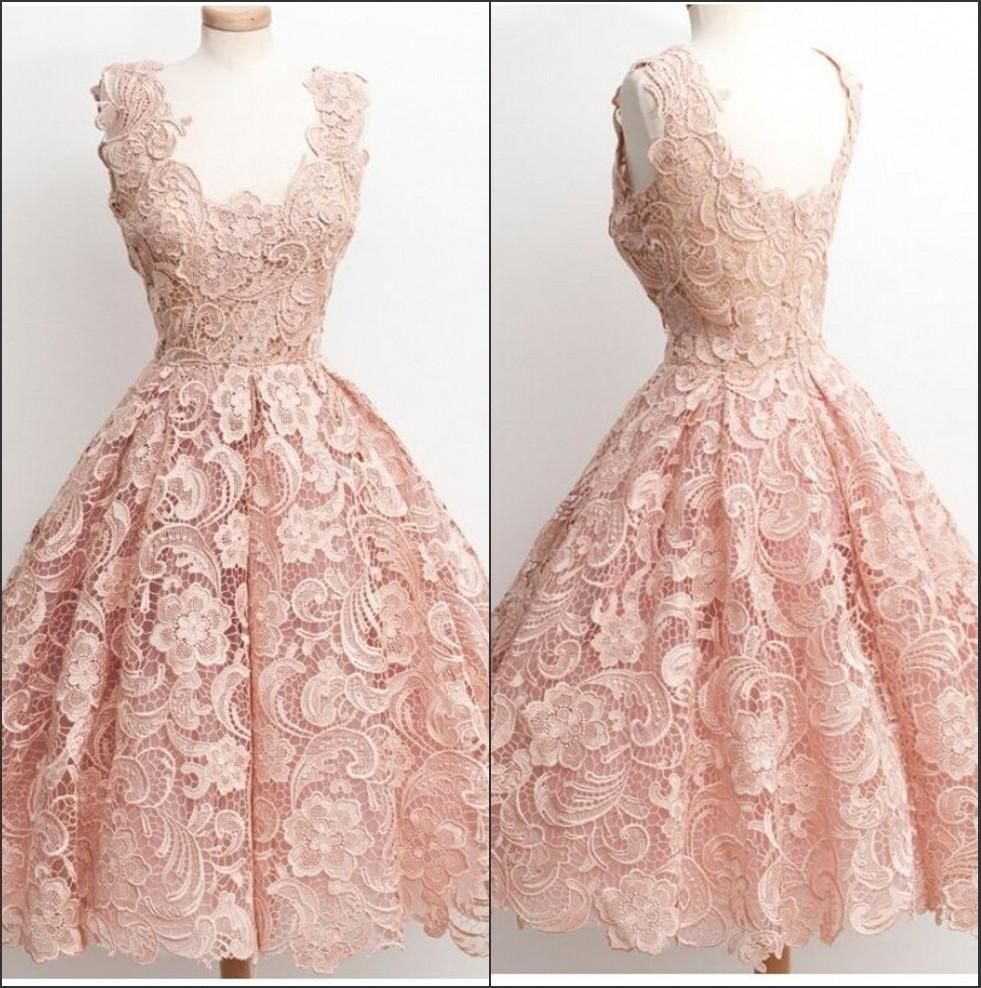 new light pink cap sleeves lace homecoming dresses knee length