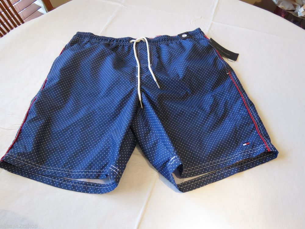 Tommy Hilfiger Bunker blue 7848266 456 dots Men's swim trunks board shorts XL  #TommyHilfiger #Trunks