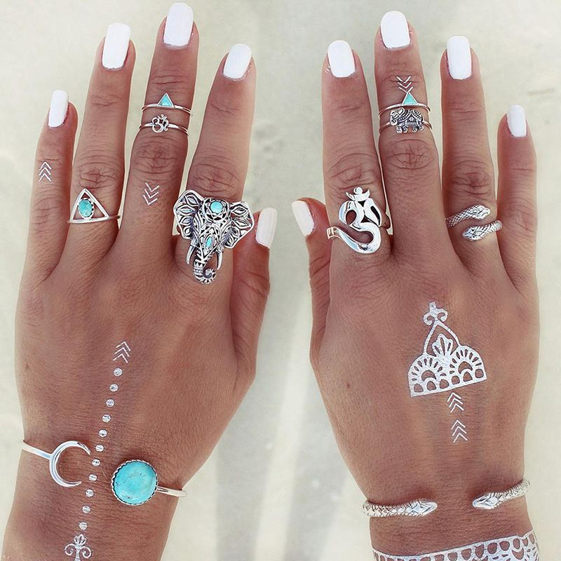 8 pcs//set Gold Finger Ring Set Fashion Vintage Punk Boho Knuckle Anneaux Bijoux