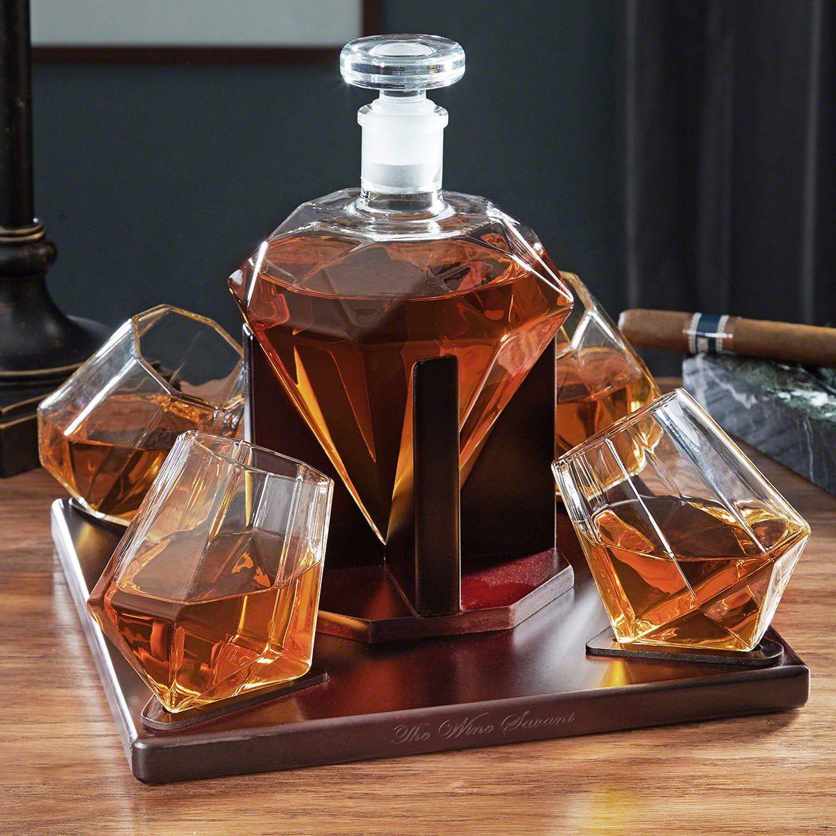 Diamond Whiskey Decanter Set Whiskey Decanter Set Whiskey Set Whiskey Decanter