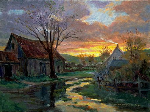Cr puscule apr s la pluie 12po x 16po juan cristobal for Artiste peintre anglais