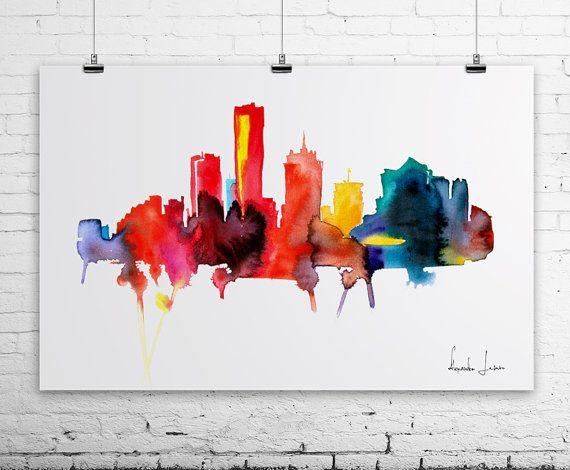 Milwaukee City Watercolor Painting - Art Print - Wall Art ...