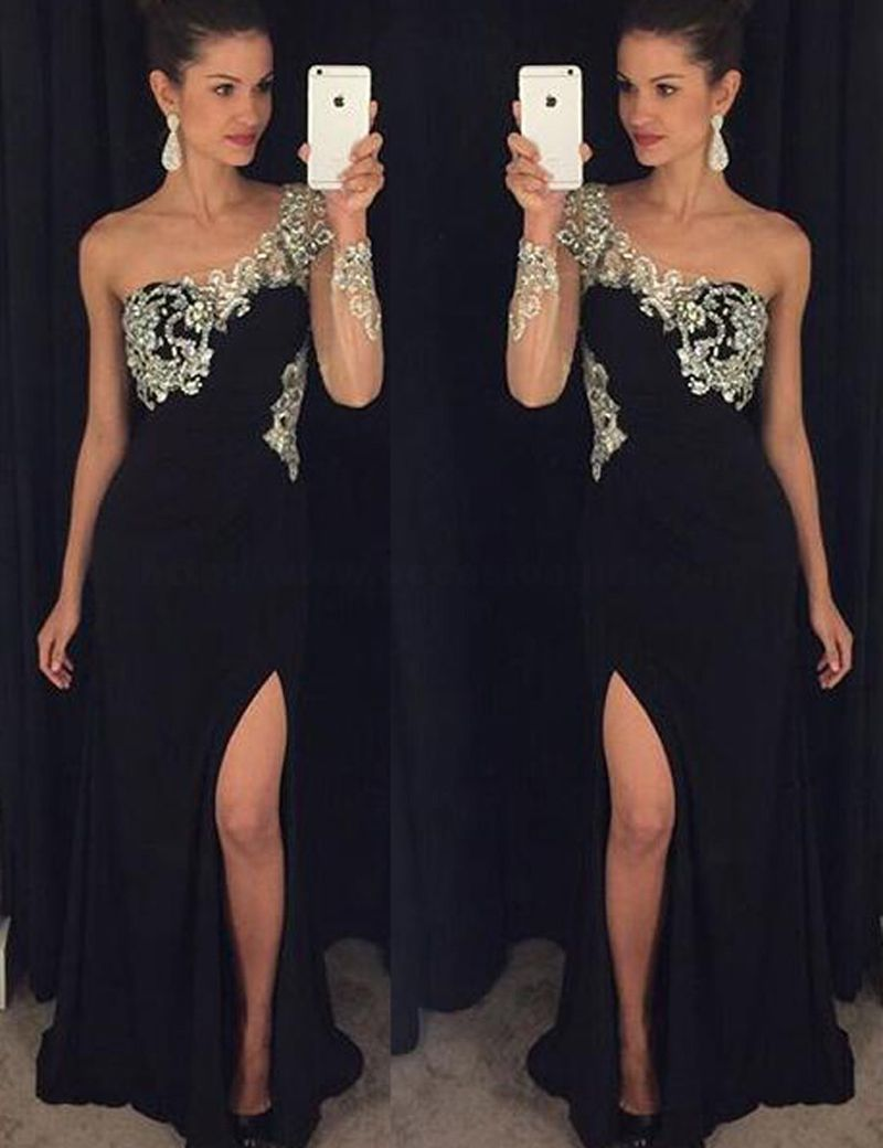 Luxurious sheath one shoulder long sleeves rhinestone beading high
