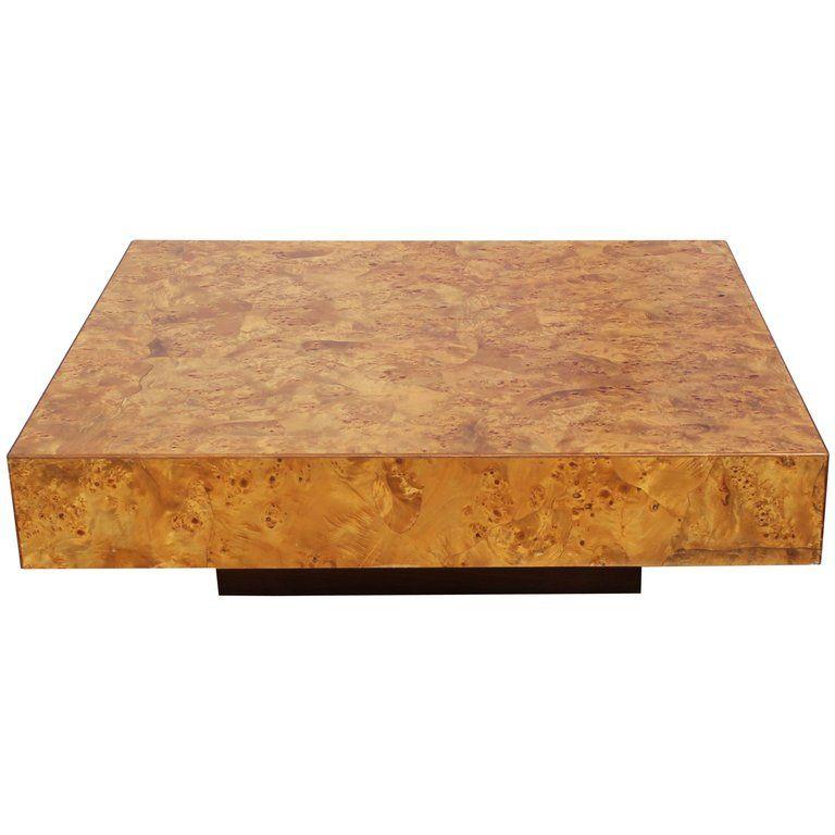 Modern Italian Milo Baughman Style Square Burl Wood Coffee Table 1stdibs Com Burled Wood Coffee Table Burled Wood Modern Italian