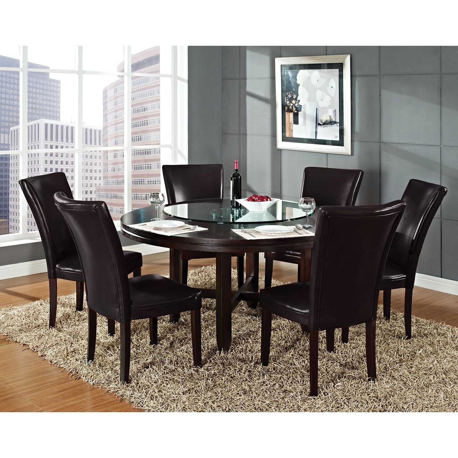 Harding 72 Round Dining Set 7 Pc Dark Brown Leather Chairs