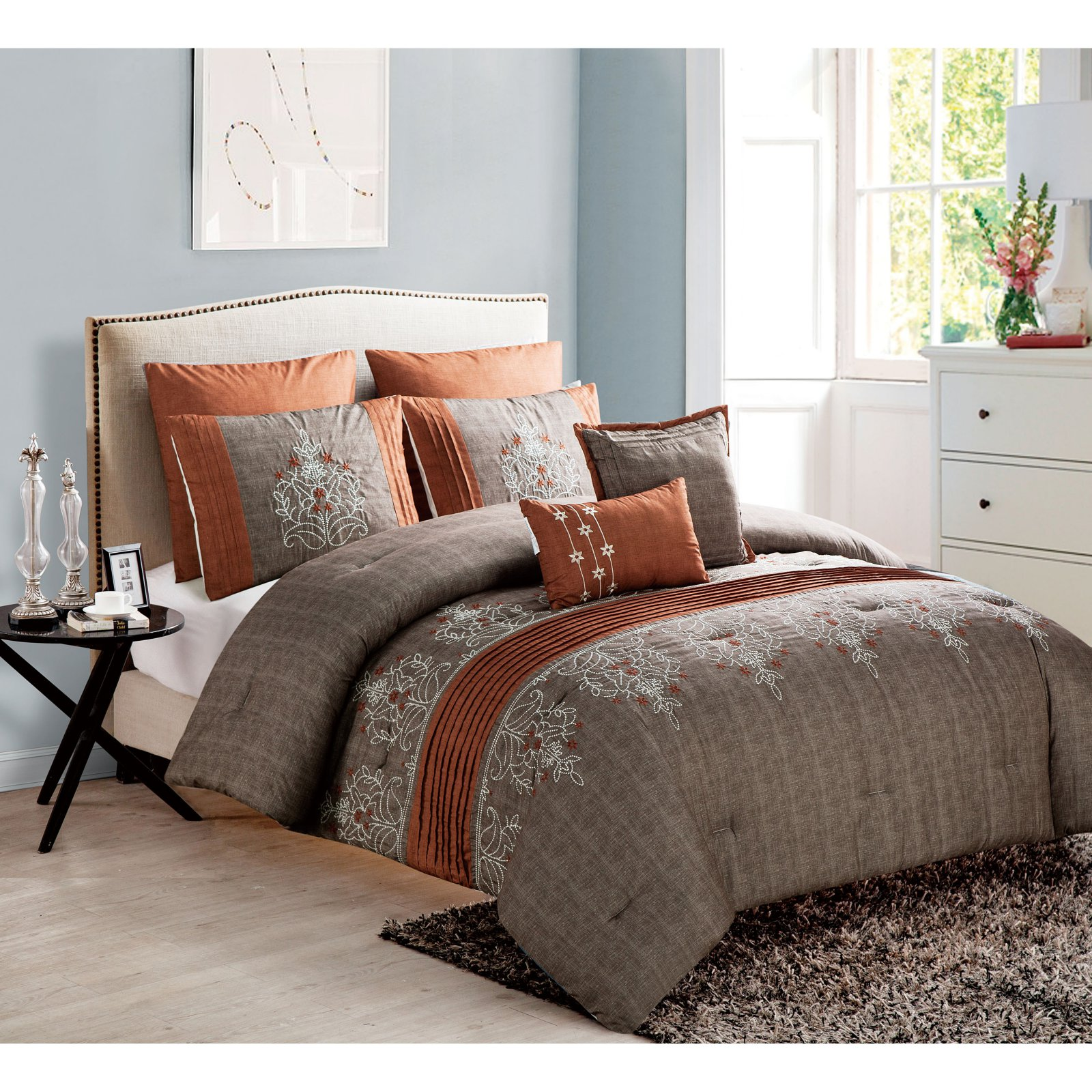 Grace 7 Piece Embroidered Comforter Set By Vcny King Comforter