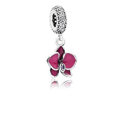 Orchid Charm Radiant Orchid Enamel /& Purple CZ fit for DIY Charms Bracelets