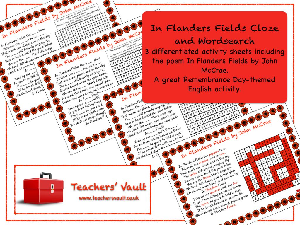 In Flanders Fields Cloze And Word Search Pinterest Flanders