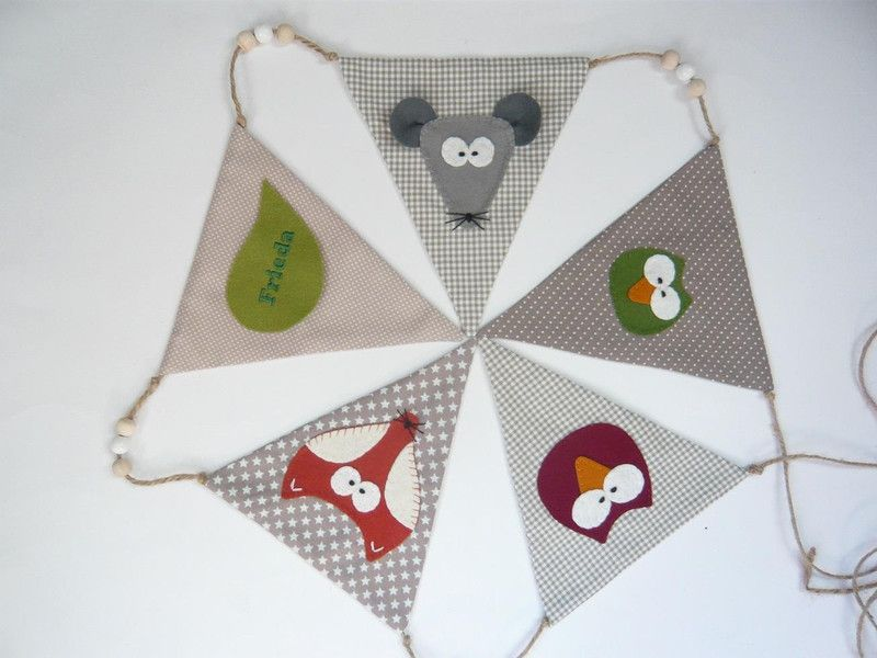Girlanden & Wimpelketten - Wimpelkette *Waldtiere*  mit Namen - ein Designerstück von assili-1966 bei DaWanda