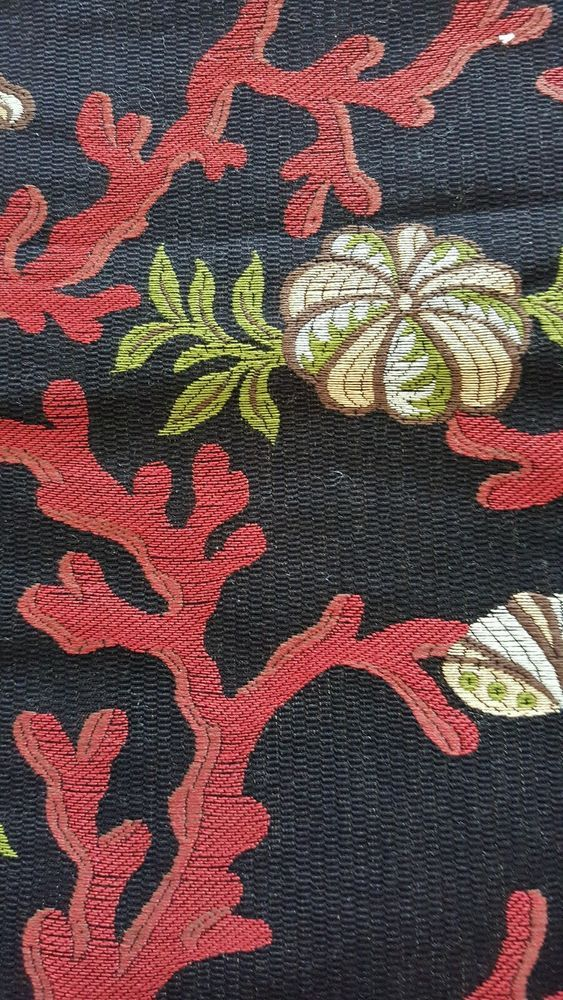 "2 Scalamandre  fabrics - COQUILLAGE a CORAL - LAMPAS-V 17"" H 26"""