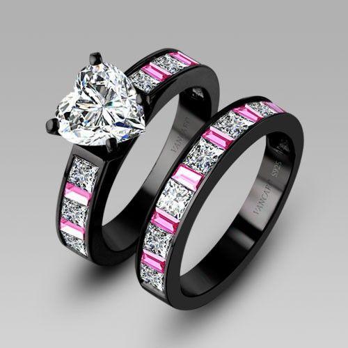 White Heart Cubic Zirconia Black Engagement Ring Wedding Ring Set