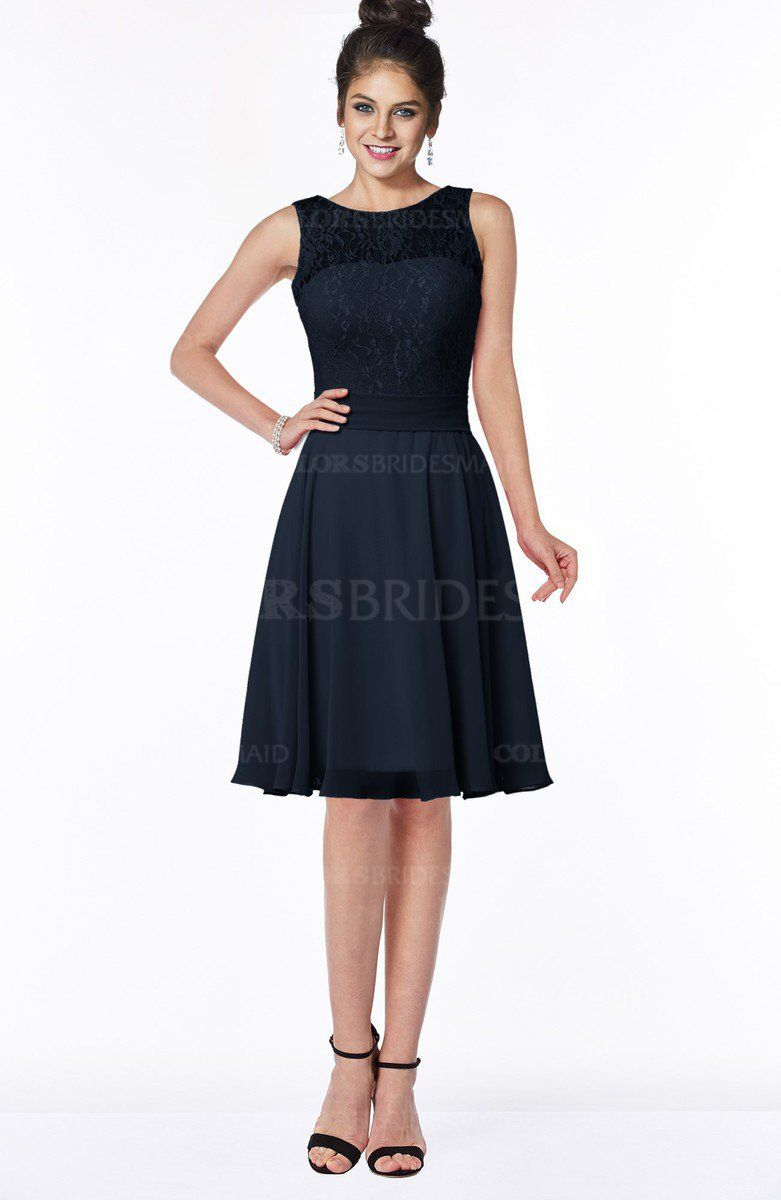 c7c96f09a752 Navy Blue Glamorous A-line Scoop Zip up Chiffon Sash Bridesmaid Dresses  (Style D79899