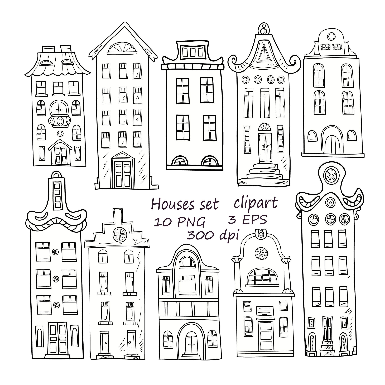 Set Of Hand Drawn Houses 10 Png Houses Clipart Hand Drawn Houses Clipart Buildings Clip Art Doodle Houses Clipart Amsterdam Houses Clipart Handen Tekenen Kerst Ramen Boekenleggers