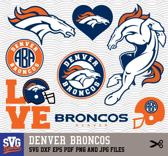 DENVER BRONCOS SVG Logos Monogram Silhouette Cricut Cameo Screen Printing Sp 01