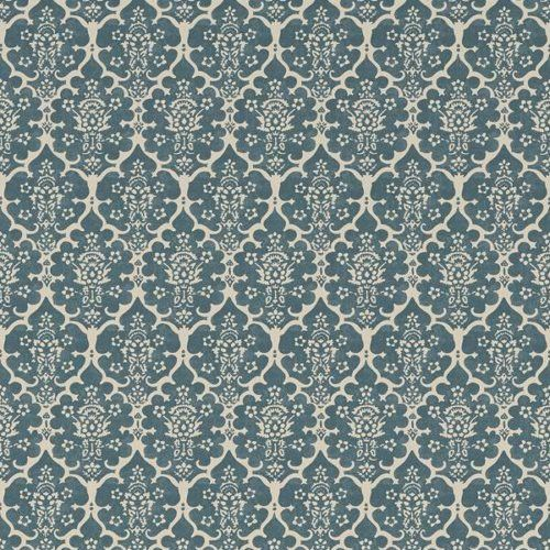 Schumacher BURLEY PEACOCK BLUE Wallpaper Blue wallpapers