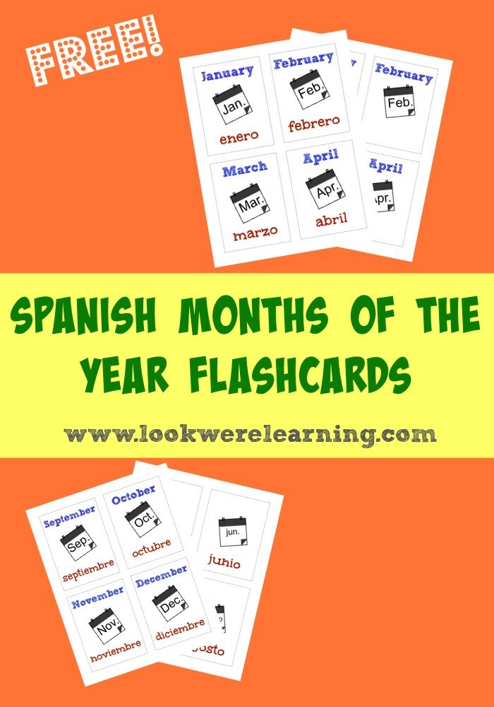 Free Spanish Months Of The Year Flashcards Look We Re Learning