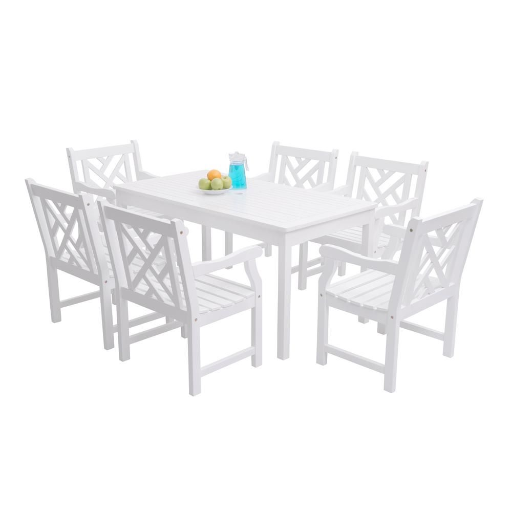 Vifah Bradley Acacia White 7 Piece Patio Dining Set With 32 In W
