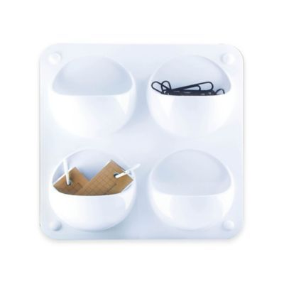 Modular 4-Compartment Plastic Wall Organizer in White - BedBathandBeyond.com