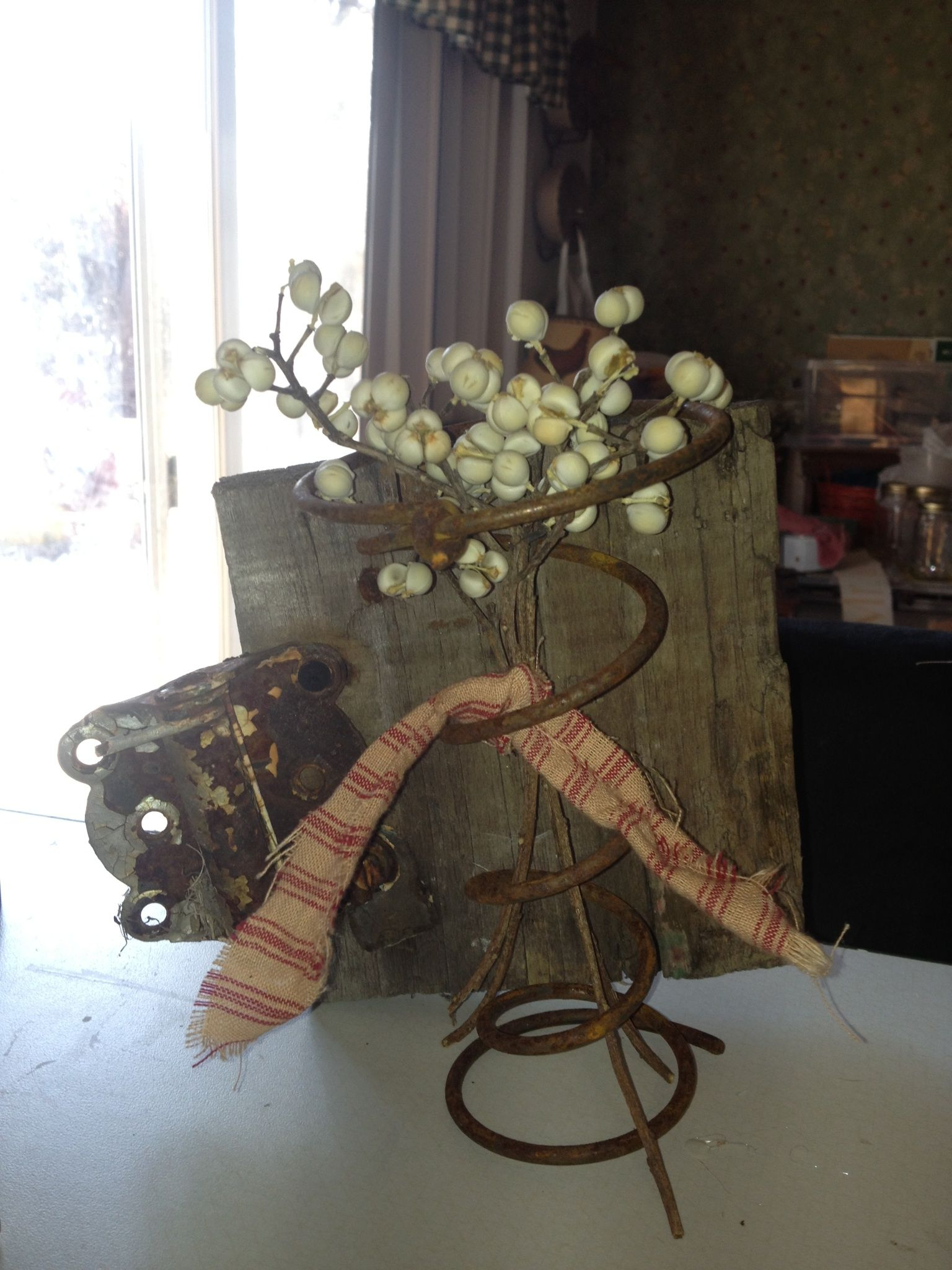 Old Hinged board, bed spring and tallow berries. Vintage