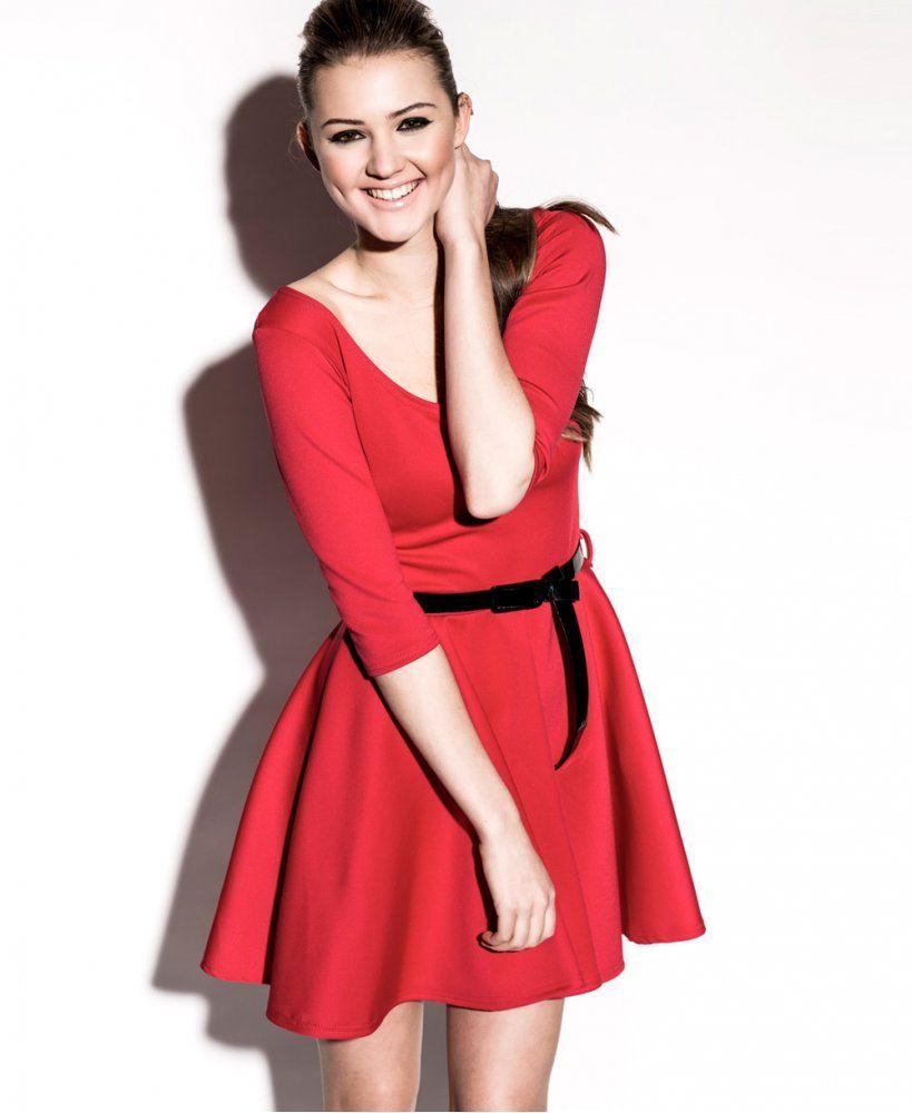 KrispBASIC 3 4 Length Sleeve Belted Red Skater Dress - KrispBASIC from  Krisp Clothing UK 5fb1a1bdd