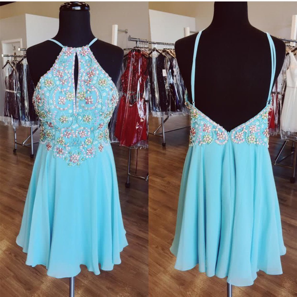 Sexy prom dressblue prom dressopen back cocktail dressshort