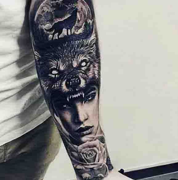 90 moon tattoos for men tattoos for men pinterest moon tattoo and wolf tattoos. Black Bedroom Furniture Sets. Home Design Ideas