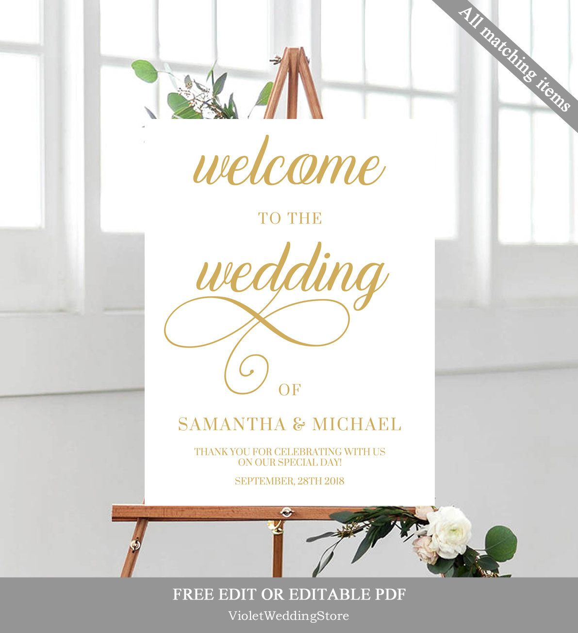 gold wedding welcome poster template