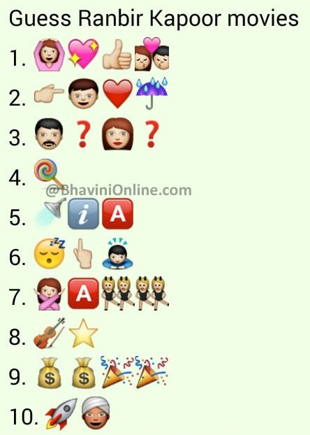Whatsapp Puzzles Guess The Ranbir Kapoor Movie Names From Emoticons And Smileys Bhavinionline Com Guess The Movie Ranbir Kapoor Emoji Movie