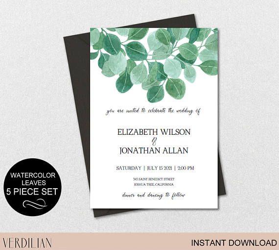 Rustic Wedding Invitation Template-Leaves Watercolor Wedding - editable leaf template