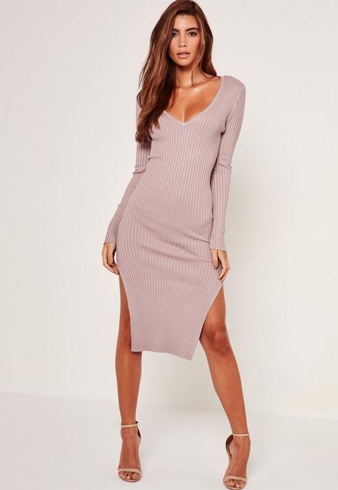 fb7145b90cbc Purple V Neck Side Split Midi Sweater Dress.  45  18