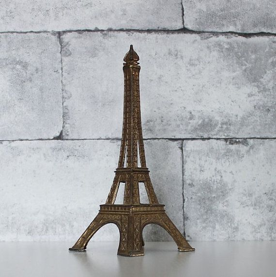 "Large French vintage metal Eiffel tower // 22 cm , 8.66"" // C416"