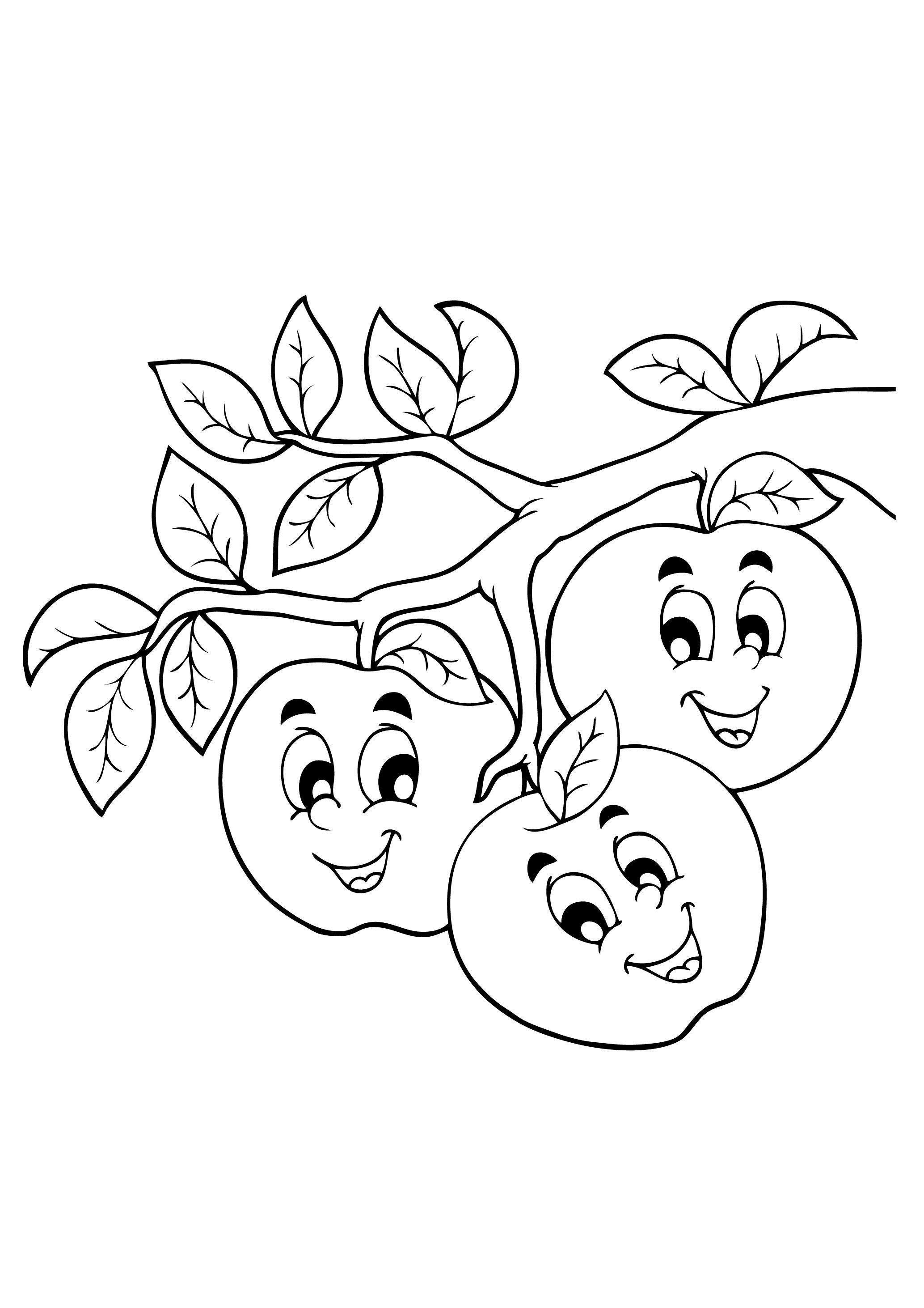 веселые фрукты картинки раскраски всего