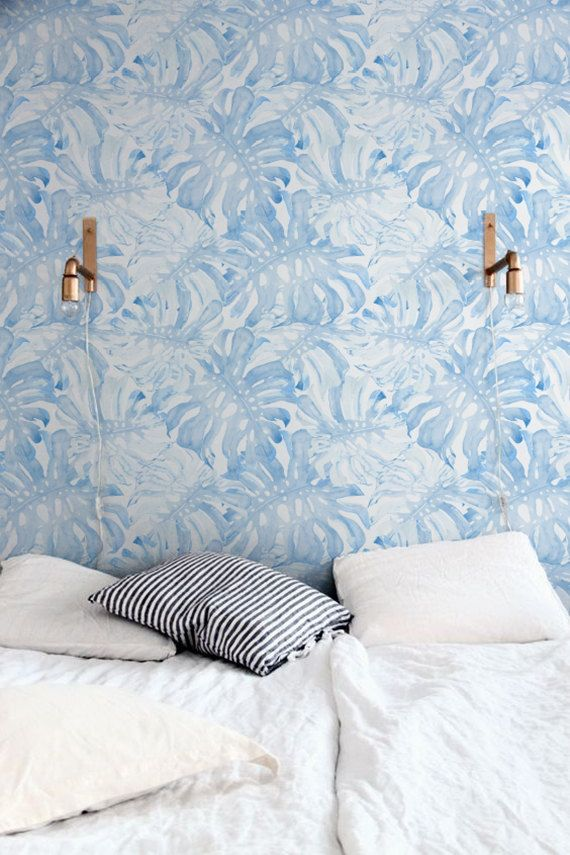 Removable Wallpaper With Baby Blue Monstera Leaves Pattern Etsy Tropical Wall Decals Nursery Wallpaper Blue Bedroom