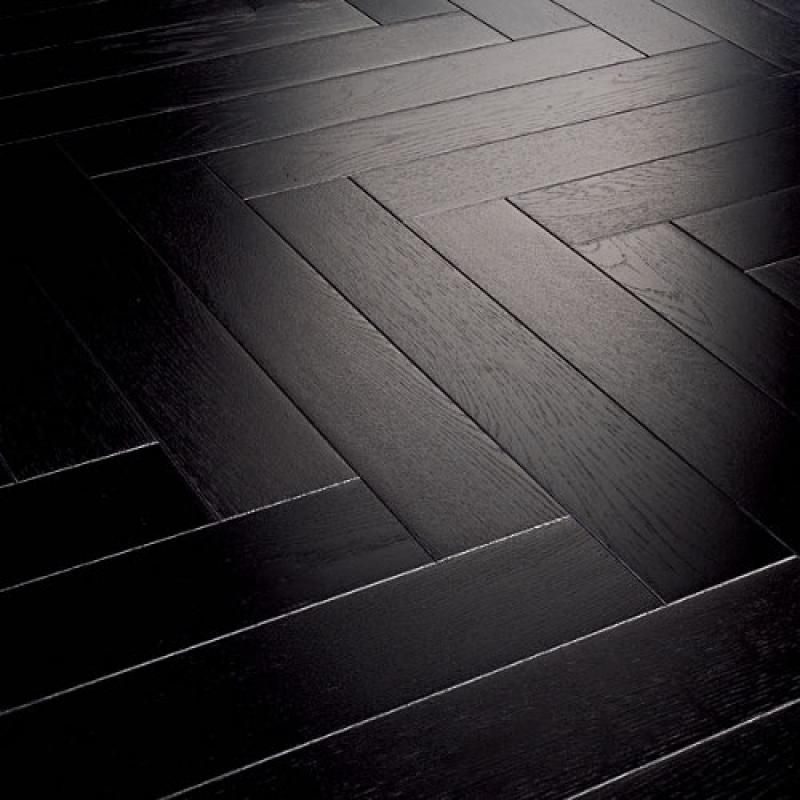 Parador Trendtime 3 Oak Black Herringbone Lac (1144760) - Black Stained Hardwood Flooring, But It's NOT Glossy And The Grain