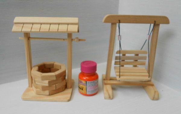 Kit miniatura poço e balanço Miniaturas, Pequenos