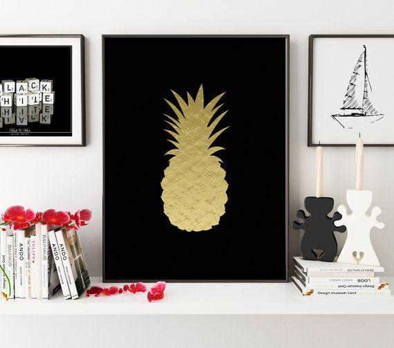 Golden Pineapple Print, Pineapple Art, Pineapple Photo, Pineapple Photography, Pineapple, Summer Print, Summer Art, Wall Art, Wall Print