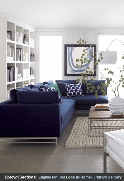 Attractive Navy Blue Sectional Sofa   Foter