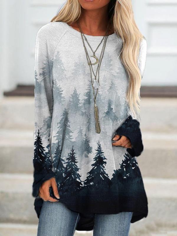 Casual crew neck forest print sweatshirt
