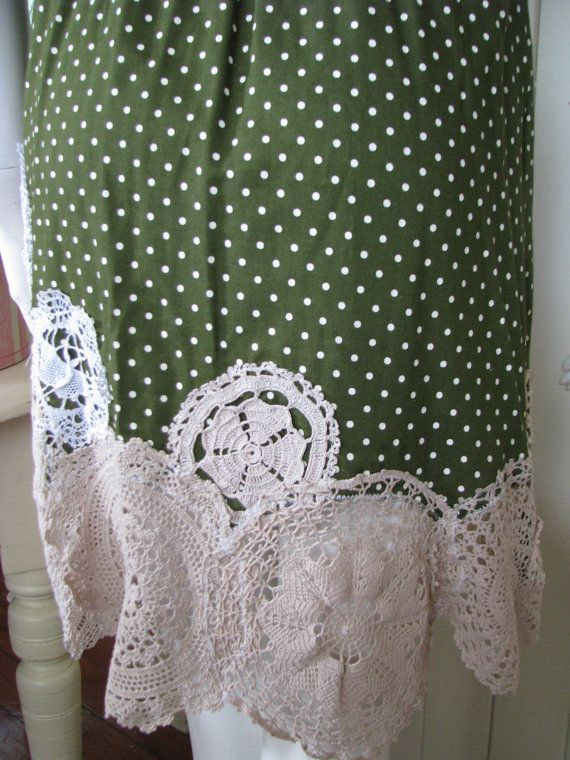 Green Polka Dot Sundress Upcycled Clothing Altered by vintacci