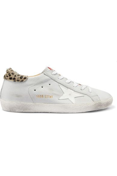 Superstar Distressed Leopard-print Calf Hair And Suede Sneakers - White Golden Goose B2BVvVYW