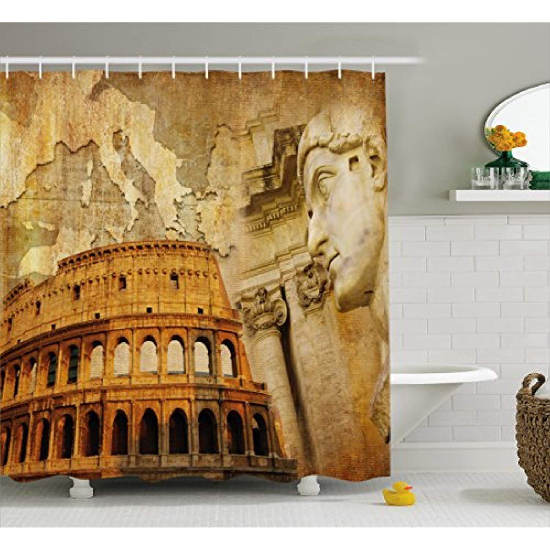 Ambesonne Retro Shower Curtain Roman Empire Concept Famous